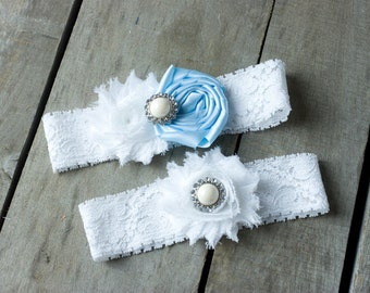 Light Blue and White Wedding Garter Set, Bridal Garter, Wedding Garter, Shabby Chic Garter, Satin Garter