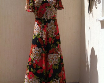 Vintage maxi dress - floral 70s long dress - 70s boho vintage dress - floral vintage dress - 70s long dress