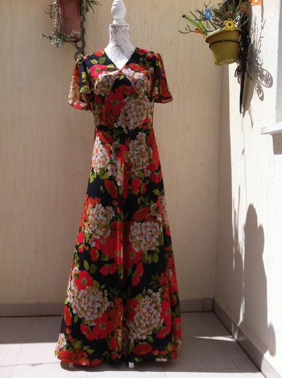 robe longue vintage ann es 70 robe longue robe fleurs. Black Bedroom Furniture Sets. Home Design Ideas