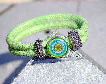 Faux Snake Leather Snap Bracelet Snap Jewelry Popper Snap Charm Noosa Style Light Green Leather Ginger Snap Jewelry  One Button Included.