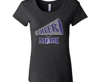 Rhinestone Cheer Mom [Megaphone in [BLUE Short Sleeve Scoop Neck Fitted Tee