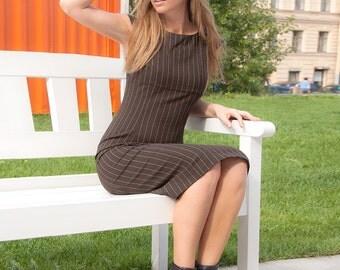 Office dress Sleeveless Pencil dress Brown dress Day dress