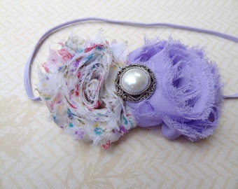 Vintage Spring and Purple Shabby Chic Headband