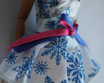 11.5 inch dolls clothes - blue snowflake dress (94)