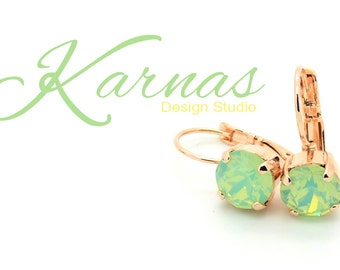 CHRYSOLITE OPAL 8mm Crystal Chaton Drop Earrings Made With Swarovski Elements *Pick Your Setting *Karnas Design Studio *Free Shipping*