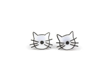 Cat Whiskers, Shrink Plastic, Surgical Steel Posts, Girls Earrings