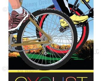 CYCLIST, 24 x 30 Graphic Art Biking Inspiration Print