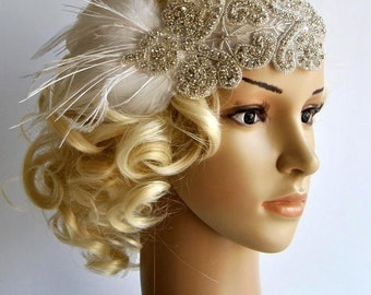 Flapper Rhinestone Gatsby Headband, Wedding hairpiece Rhinestone Great Gatsby Crystal Headband  Bridal Headpiece 1920s Flapper headband