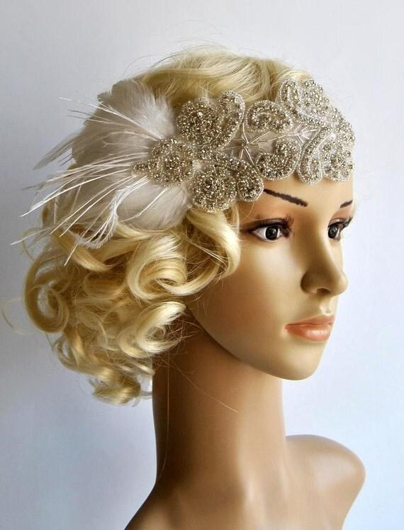 Great gatsby crystal headband bridal headpiece 1920s flapper headband