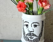 The Bearded Romantic Jar, hand painted vintage ceramic, with lid