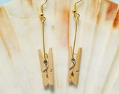 Wood clothespin earrings; Novelty earrings; Kitschy clothespin earrings; minimalist earrings; clothespin ear jewelry; wood ear jewelry