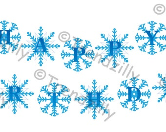 Snowflake Birthday Banner Inspired by Frozen, Printable Instant download, Party Banner, Happy Birthday Banner.