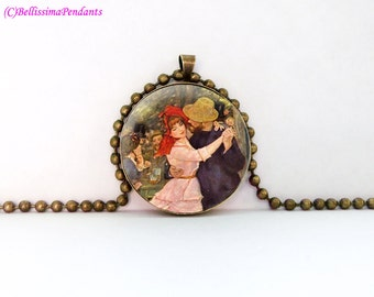 Dance at Bougival, Pierre-Auguste Renoir, 1 in. 25.4 mm necklace or keychain