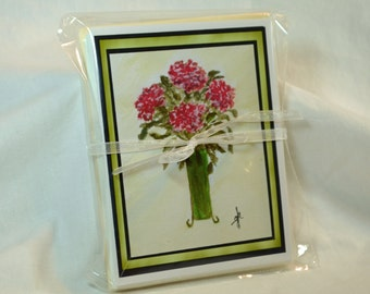 Original Art Blank Notecards, Note Cards,  Hydrangea Blossom Watercolor