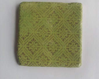 Green with Brown Diamond Pattern Tumbled Marble Coasters; Set of 4