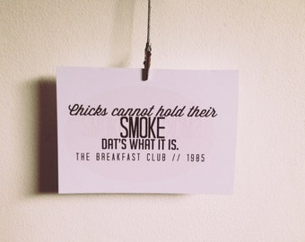 The Breakfast Club quote postcard