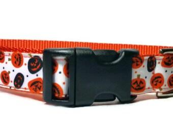 "Pumpkin Halloween Nylon Dog Collar * 1"" Width Only * Buckle Collar * Martingale Collar * Chain Martingale"