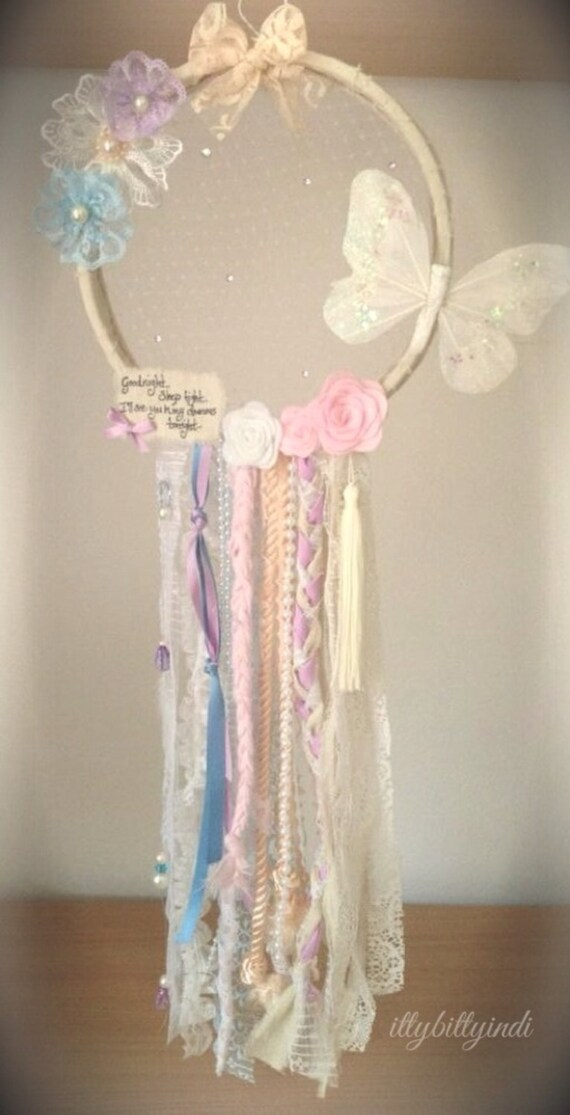 Items similar to butterfly kisses dreamcatcher mobile wall for Handmade decorative items for bedroom