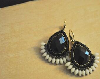 Statement earrings, Black and white, Teardrops, dangles, Handmade gift idea, Christmas gift.