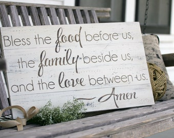 "Bless the food before us, Large hand painted wood sign, Kitchen & dining room decor, Housewarming gift, wedding gift, Measures 14"" x 23.5"""