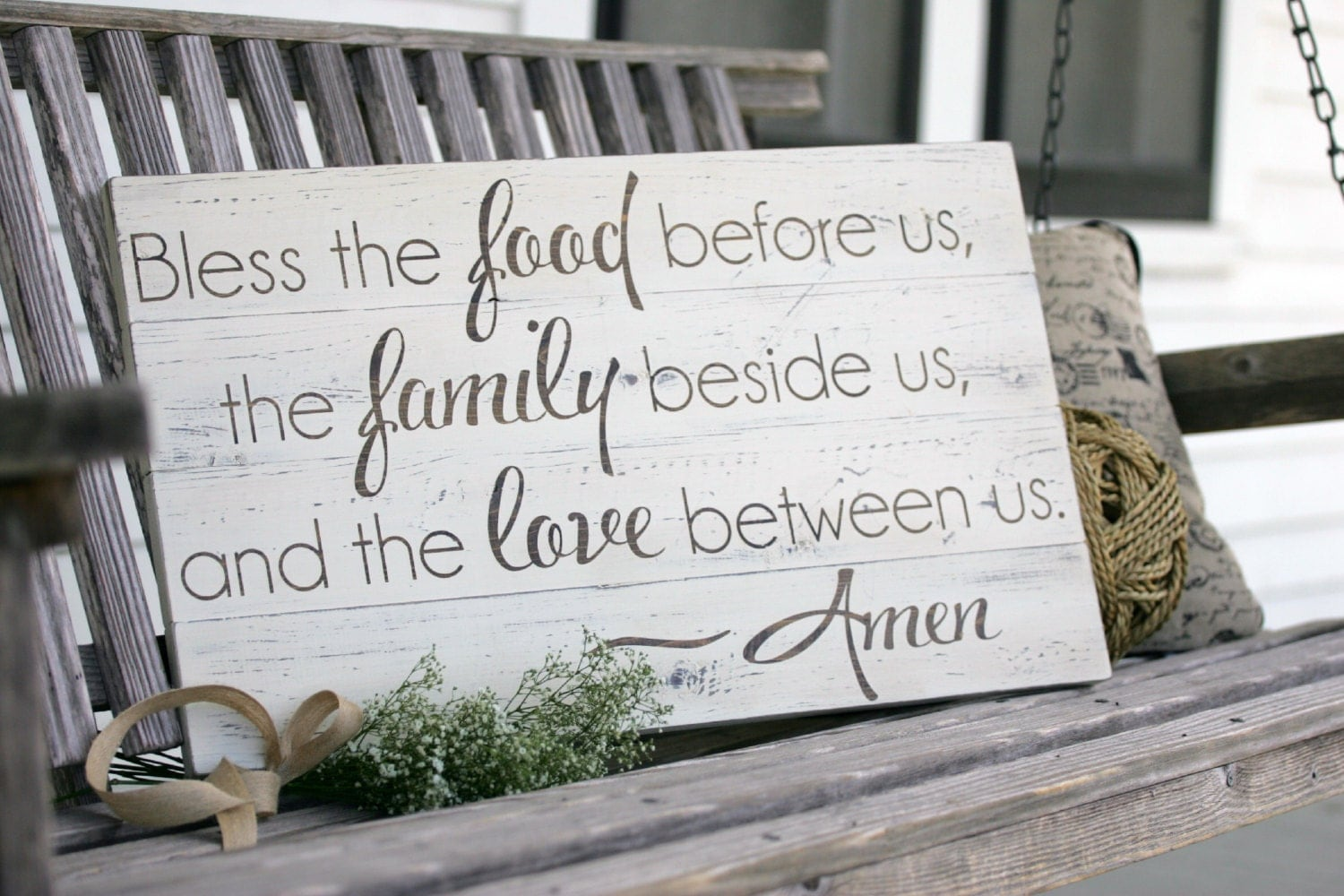 Bless the food before us Large hand painted wood sign