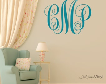 Mongram Wall Decal Initials of Name for Family Room Entryway Playroom Nursery Bedroom Boys Girls Room