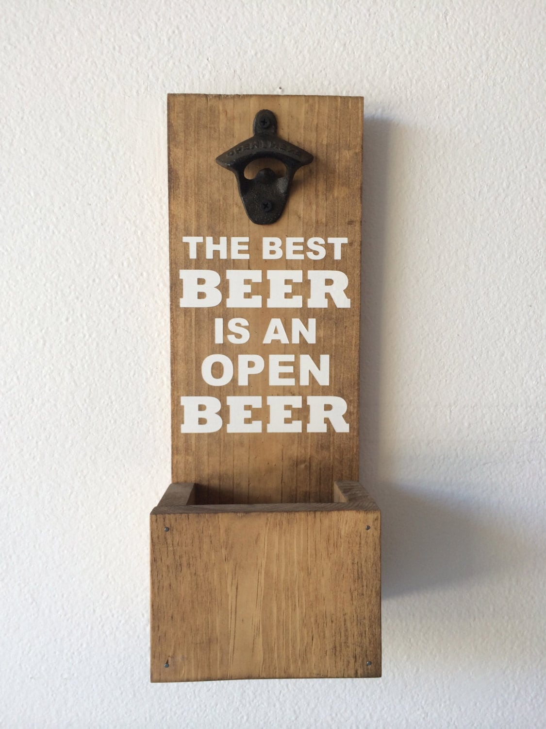 wall mounted bottle opener with cap catcher the best beer is. Black Bedroom Furniture Sets. Home Design Ideas