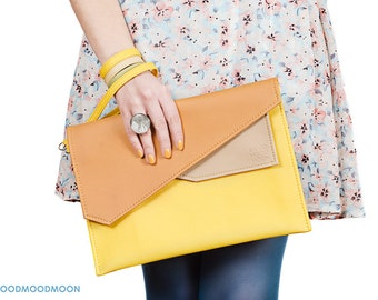 Yellow clutch, envelope clutch, large clutch, vegan leather clutch, case ipad, orange clutch, clutch purse, vegan clutch