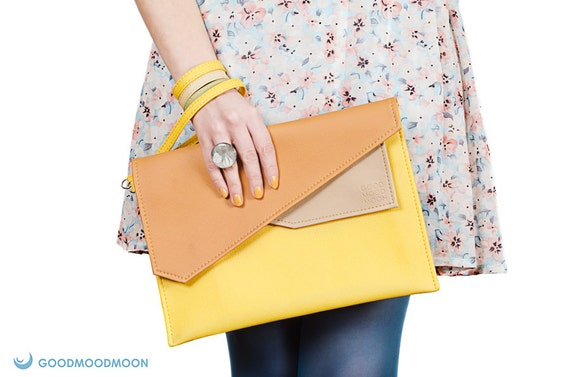 Large yellow clutch, case ipad, 10 inch tablet case