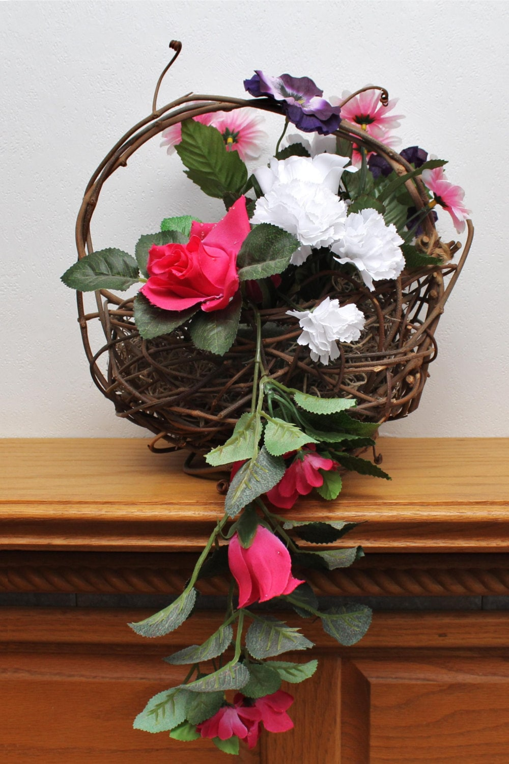 Flower Girl Baskets Small : Handmade small grapevine basket flower girl