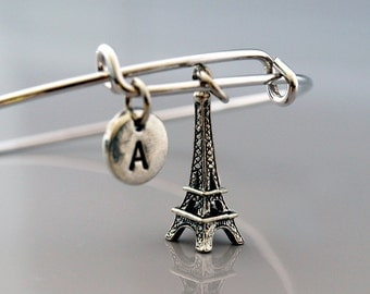 Eiffel tower Bangle, Eiffel tower charm bracelet, Eiffel tower jewelry, Paris France, French charm, Expandable bangle, Initial bracelet