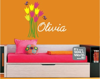 Flowers, Tulips with Custom Name Vinyl Wall Decal - Nursery or Girl's Room Wall Sticker
