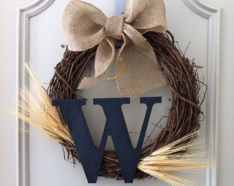 Monogram Wheat Wreath with a Burlap Bow - Rustic Wreath - Initial Wreath - Personalized Wreath - Fall Wreath