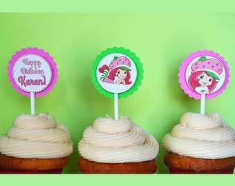 12 Personalized Strawberry Shortcake Cupcake Toppers Party Birthday Girl 3D - 2 Layers