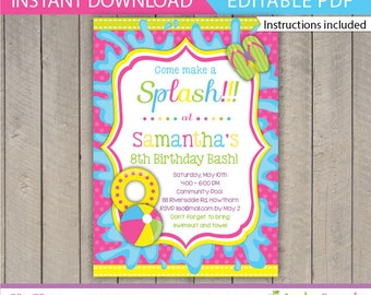 Kids Pool Party Invitation / Pool Party Invitation / Pool Invitation / kids pool / Pool birthday / Pool Printable / Instant Download