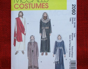 McCall's Sewing Pattern 2060, Passion Play Costumes, Adult Size 34 36, Jesus, Mary, Apostles, Pilate, Pharisee, High Priest, Soldier, UNCUT