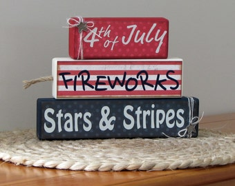 Fourth of July, Fireworks, Stars & Stripes stacking block decoration