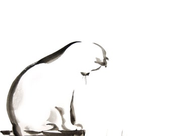 Cat Art Print, Minimalist Cat Painting Art Print, Black and White Ink Painting Wall Art