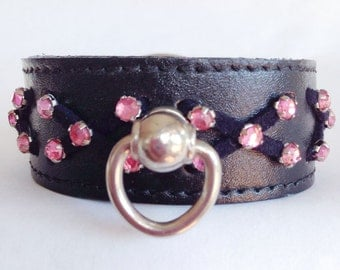 XX Small Black Leather Rose Crystals Black Suede X Lacing Handcrafted Dog Collar
