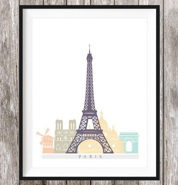 paris printable paris poster paris print by connieandjoan. Black Bedroom Furniture Sets. Home Design Ideas