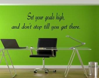Set Your Goals High Motivational Wall Decal - motivational quotes, sports wall decals, kids room decor, sports decal, goals decor, goals