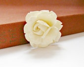 RESERVED FOR LAURA - vintage carved rose brooch carved ivory pin faux ivory flower pin rose jewelry soft white brooch ivory rose