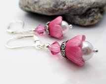 Polymer Clay Earrings. Polymer Clay Jewelry. Pink Tulip Earrings. Flower Earrings - SWEET PEA