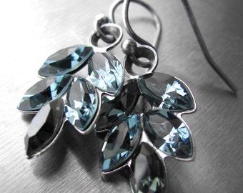 Indian Sapphire Blue Crystal Earrings - Slate Blue Rhinestone Crystal Earrings, Antiqued Silver Leaf Setting, Something Blue Wedding Jewelry