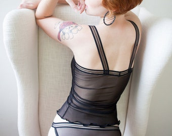 Sheer Lingerie - Black Mesh See Through Panties - Custom Fit 'Calla' Style Made To Order Womens Lingerie