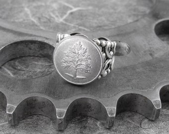 Silver Tree Antiqued Filigree Ring - The Tall Oak Tree by COGnitive Creations