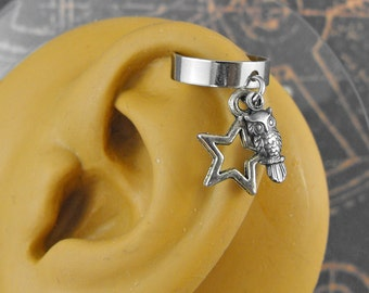 Silver or Golden Owl Silver Star Ear Cuff - The Starry Night Owl by COGnitive Creations