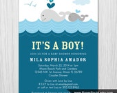 Whale theme Baby Shower Invitation - Boy Baby Shower - Digital File - Printable - Item 146B