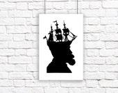 The Captain Large Nautical Silhouette Print Pirate Ship Black and White Beach House Decor