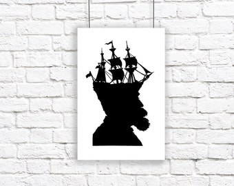The Captain Large Nautical Silhouette Print Pirate Ship Black and White Beach House Decor